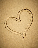 Heart drawn on sand. Royalty Free Stock Image