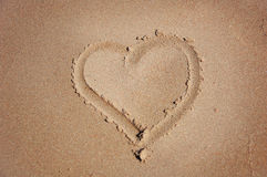 Heart drawn on sand Royalty Free Stock Photo