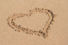 Heart drawn on sand. Heart drawn on beach sand Royalty Free Stock Images