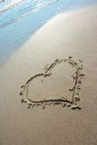 Heart drawn on sand Royalty Free Stock Images