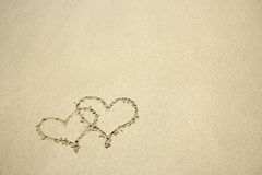 Heart drawn in the sand Royalty Free Stock Photos