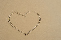 Heart drawn in the sand. Beach background. Top view Royalty Free Stock Photography