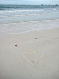 Heart Drawn on Sand in Florida Royalty Free Stock Image