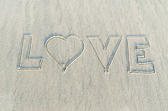 Heart drawn on sand Royalty Free Stock Photography