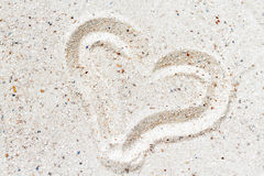 Heart drawn in the sand. Royalty Free Stock Image