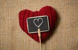 Heart drawn on small decorative chalkboard Stock Image
