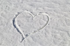 Heart drawn in the snow Stock Images