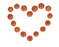 Heart drawn from tomatoes Royalty Free Stock Image