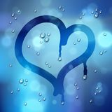 Heart drawn on a window over blurred background and water rain drops, vector realistic illustration, loneliness sadness and. Missing beautiful art vector illustration