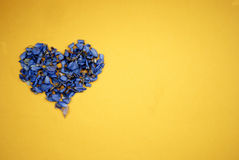 Heart of dried blue flowers. On bright yellow background Stock Images