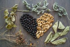 Heart of dried cherries, nuts and dried leaves of tea. Top view Royalty Free Stock Photos