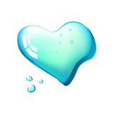 Heart-drop. Heart in drop of water on white background. Mesh Royalty Free Stock Image