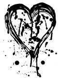 Heart drops of paint black sketch. Vintage Poster. Royalty Free Stock Photography
