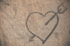 Heart on dusty floor. Heart on dusty and dirty wooden floor Royalty Free Stock Image