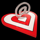 Heart E-mail Shows Valentines Electronic Letter Stock Image