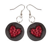 Heart earrings from polymer clay and beads. Gift for Valentine's Royalty Free Stock Image