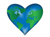 Heart-Earth. Vector Heart-Earth. Isolated over white background Stock Images