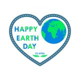 Heart for Earth Day. Vector illustration. Heart with world map for 22 april, in flat design. Vector illustration. Happy Earth Day, ecology concept Stock Photo