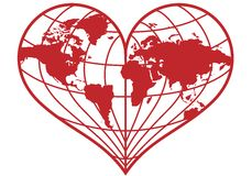 Heart earth globe,. Heart shaped red earth globe,  illustration Stock Images