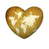 Heart with earth grunge map on Stock Photo