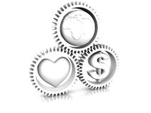 Heart, earth, money in gear Stock Images