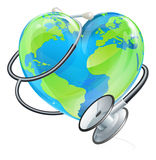 Heart Earth World Globe Stethoscope Health Concept Stock Image