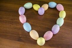 Heart easter eggs whit love stock image