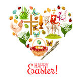 Heart with Easter holiday cartoon icons. Heart of Easter holiday icons. Easter rabbit bunny with painted eggs, chicken, egg hunt basket, lily flower bunch Stock Photo