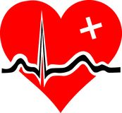 Heart with ECG curve and white cross. Vector illustration Red Heart with ECG curve and medical white cross Stock Photo