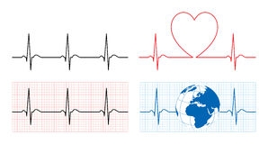 Heart with ecg and earth with ekg line Stock Image