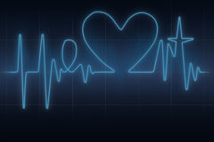 Heart ecg graph stock image
