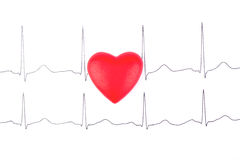 Heart and ECG. Red heart lying on the picture cardiogram royalty free stock photos