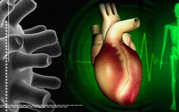Heart with eco cardio gram pulse Stock Photo