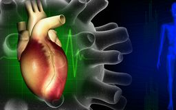 Heart with eco cardio gram pulse Royalty Free Stock Images