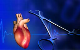 Heart with eco cardio gram pulse and surgical scis Stock Photos