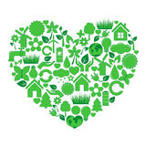 Heart of ecology icons Royalty Free Stock Photo