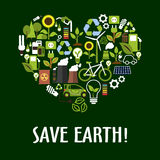 Heart with ecology, saving energy, recycling icons. Heart symbol made up of flat eco icons such as green energy, bio fuel and electric cars, recycling and save Stock Images