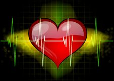 Heart with ekg Stock Photos