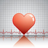 Heart with ekg on texture Stock Photo