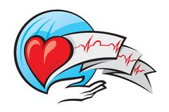 Heart and electrocardiogram. Illustration of heart and electrocardiogram Stock Photo