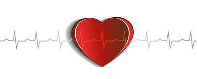 Heart and Electrocardiogram Royalty Free Stock Photo