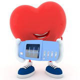 Heart with electrocardiogram device Stock Images