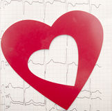 Heart and electrocardiogram Royalty Free Stock Photography