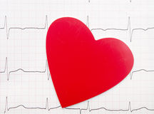 Heart and electrocardiogram Stock Images
