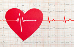 Heart with electrocardiogram test in the background,. Cardiology concept Royalty Free Stock Photos