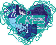 Heart with elements of marine life Stock Photos
