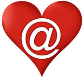 Heart Email. Sign isolated on white Royalty Free Stock Image