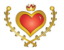 Heart emblem. Vector illustration of golden heart emblem topped with red center stock illustration