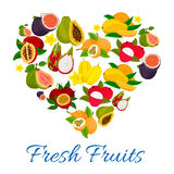 Heart emblem of fresh exotic tropical fruits. Fruit love label of sweet figs, mango, papaya, lychee, dragon fruit, carambola, guava, passion fruit stock illustration