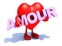 Heart that embraces word amour. Heart with arts that embraces a word amour, 3d illustration Royalty Free Stock Photo